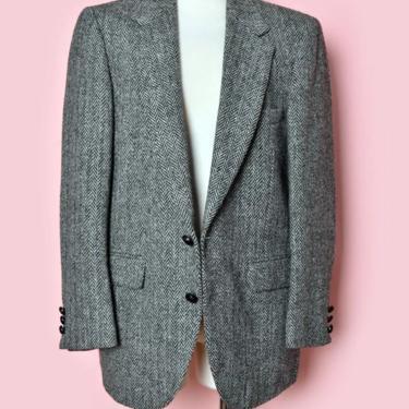 "60's Scottish Harris Tweed Wool Blazer Jacket, 38 Short , 40"" Chest, Vintage Black Gray Coat Hebrides Scotland 1960's, 70's Dark Academia by Boutique369"