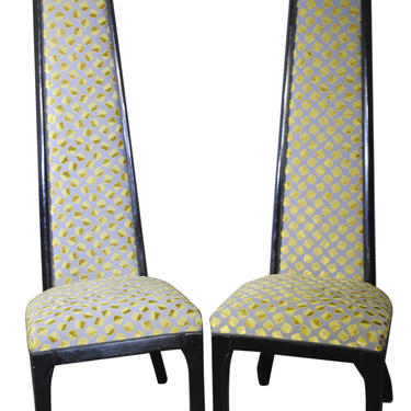 Set of  2 Gump's Extra High Back Asian Style Accent Chairs