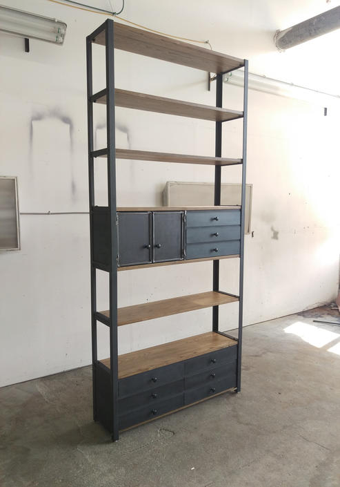 Modern Industrial Bookcase Ash wood with drawers and cabinet Rustic chic by CamposIronWorks