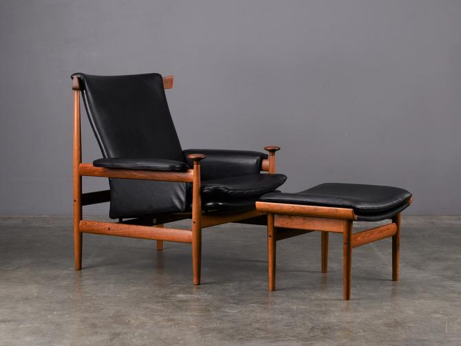 Finn Juhl 'Bwana' Lounge Chair and Ottoman Danish Modern Black Leather by MadsenModern