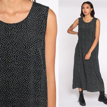 Polka Dot Dress 90s Midi Black and White Dress Grunge 80s Sleeveless Sheath Vintage 1990s Retro Preppy Extra Large xl by ShopExile