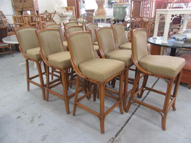 Up to 10 Bamboo Upholstered Bar stools