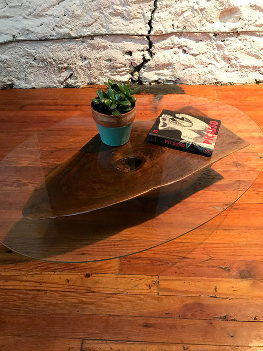 mid century end table live edge side table mid century glass top table by VintaDelphia