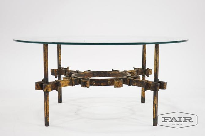 Brutalist Iron Distressed Gold Coffee Table
