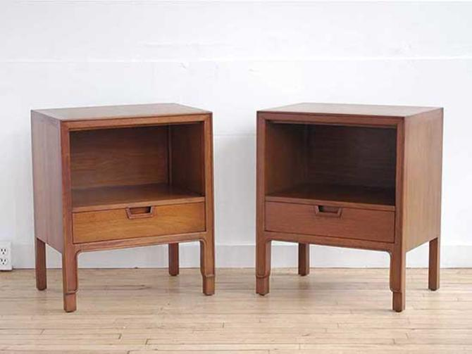 Pair of John Stuart Walnut Nightstands