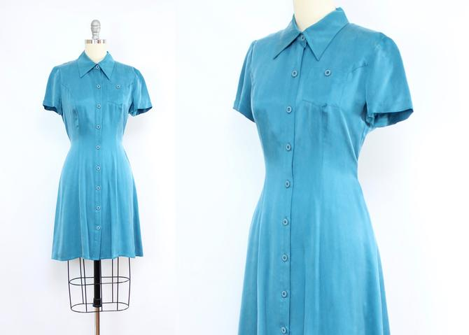 Vintage 90's Teal Silky Rayon Mini Dress / 1990's Summer Button Up Mini Dress / Size Small by RubyThreadsVintage
