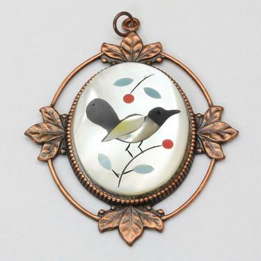 Vintage Zuni Bird Inlaid Multi-Stone Necklace Pendant Copper MOP Turquoise Onyx by HouseofVintageOnline