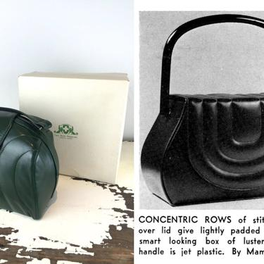 Concentric Flows - Vintage 1940s Dark Forest Green Box Bag Leather Handbag Purse - Very Rare by RoadsLessTravelled2
