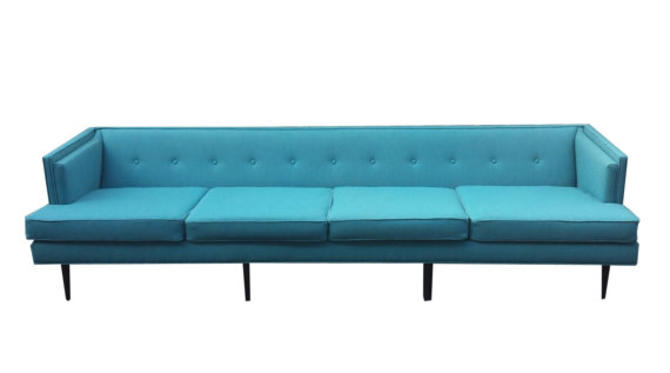 Fantastic Mid Century Modern Long Sofa Completely Reupholstered - Like New But Better by BarefootDwelling