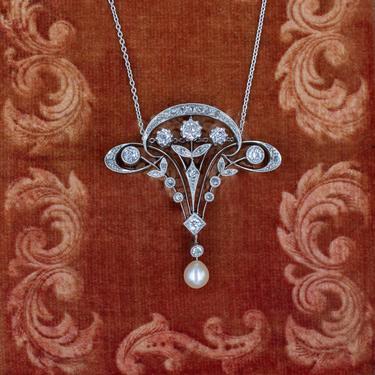 Belle Epoque Old Mine Diamond Pendant c1910