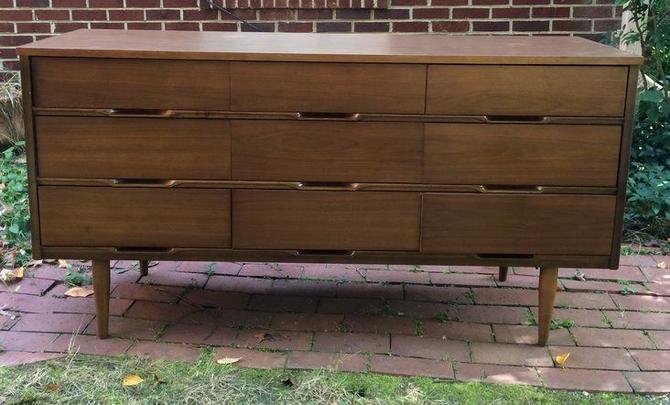 Vintage mid century modern walnut triple dresser, American made c. 1960 -- $395