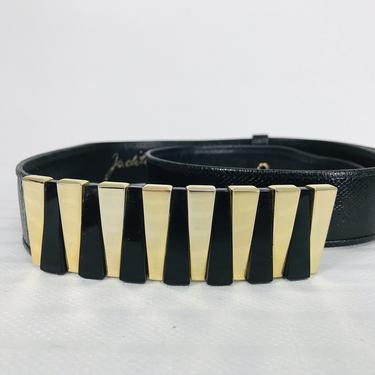 Judith Leiber Black Lucite & Gold Metal Buckle Black Lizard Belt