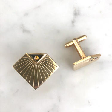 Art Deco Cufflinks   Art Deco Gold Tone Cufflinks With Topaz Stone   Vintage Gold Cufflinks   Men's Cufflinks   Deco Cufflinks by LedbellyVintage