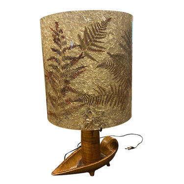Arcolai Handled Ceramic Lamp with Fern Detail Shade