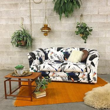 LOCAL PICKUP ONLY Vintage Loveseat Retro 1980s Paint Splatter Print Two Seat Contemporary Style Sofa for Living Room or Apartment Living by RetrospectVintage215