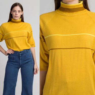 70s Mustard Yellow Striped Knit Turtleneck Top - Men's Large   Vintage Short Sleeve Retro Unisex Lightweight Sweater Shirt by FlyingAppleVintage