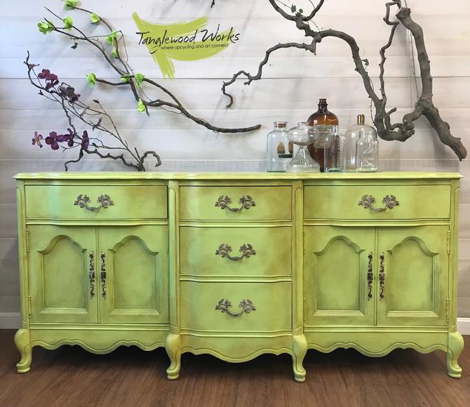 Vintage Green French Provincial Sideboard/ Dresser