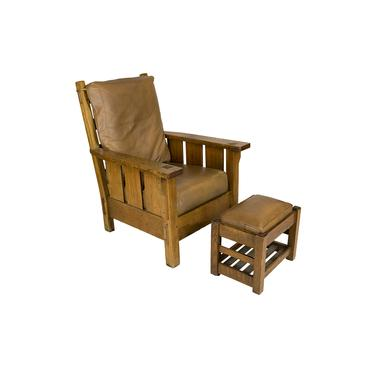 Oakcraft Large Armchair & Ottoman w/ Leather Cushions