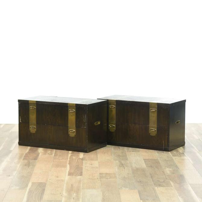 Pair Of H. Dinwoodey Campaign Style Nightstands W Brass