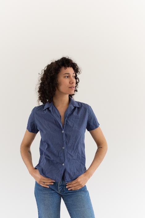 Vintage Rinsed Blue Short Sleeve Shirt | Overdye Simple Blouse | Crinkled Cotton Work Shirt | S | by RAWSONSTUDIO