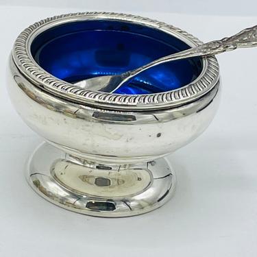 """Vintage Fisher Sterling Silver Pedestal Salt Cellar Cobalt Blue Glass Liner Sterling Spoon  2.25"""" Rope Rim by JoAnntiques"""