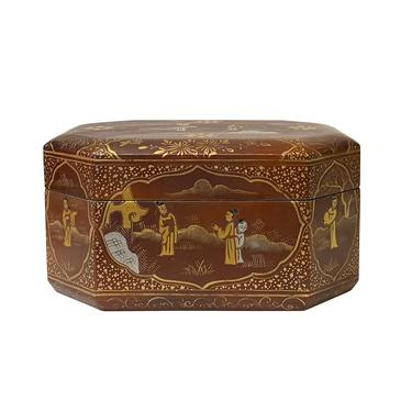 Chinese Brown Lacquer Golden Graphic Octagonal Rectangular Display Box ws1521E by GoldenLotusAntiques
