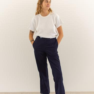 Vintage 28-30 Navy Blue Broadfall Trousers   Chinos   Overdye High Rise Sailor Pants   by RAWSONSTUDIO