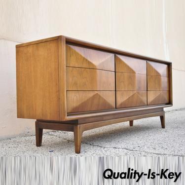 Mid Century Walnut Diamond Front Long Dresser Credenza by United Furniture