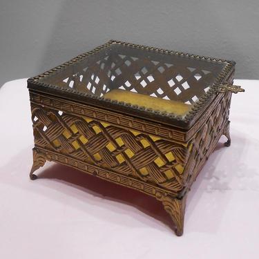 Vintage Woven Brass Metal Footed Jewelry Box Keepsake Trinket Holder Glass Top Hollywood Regency Vanity Dressing Table Treasure Storage Box by kissmyattvintage