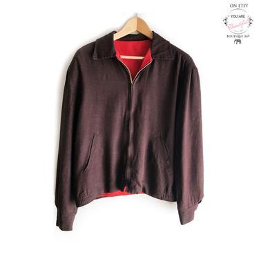 "40's Men's Dark Brown & Red Gaberdine Jacket, Rockabilly, Metal Lightning Zipper, 1940's, 1950's Swing era, 50"" Chest Coat, Large Size by Boutique369"