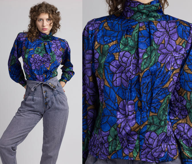 80s Floral Stained Glass High Collar Blouse - Small   Vintage Pleated Long Sleeve Button Up Top by FlyingAppleVintage