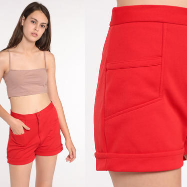 70s Shorts -- High Waist Shorts Red Cuffed Shorts Polyester High Rise Hotpants Bohemian Vintage Retro 1970s Small by ShopExile