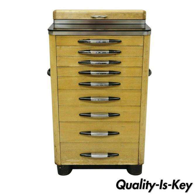 Antique Art Deco Wood & Metal Medical Dental Dentist Doctor's Cabinet