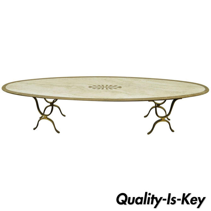 Italian Hollywood Regency Travertine & Brass Long Oval Surfboard Coffee Table