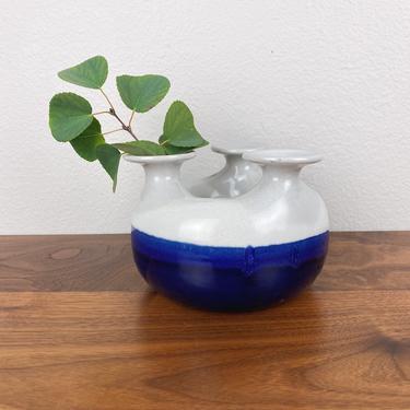 Handmade MCM Round Three Headed Pottery Vase by SonjloStudio