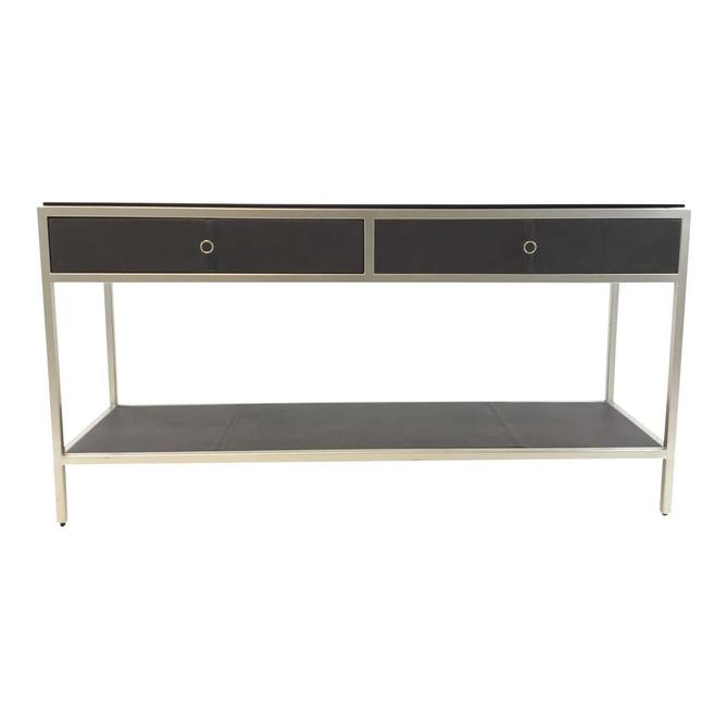 Caracole Modern Charcoal Black Leather and Metal Uptown Console Table
