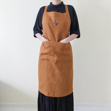 Handmade aprons for women with pockets, French linen aprons with oranges, Hand embroidered cross back aprons, Cooking gift for mom grandma by APattesDeVelours