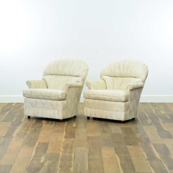 Pair Of Pastel Upholstery Scallop Back Armchairs
