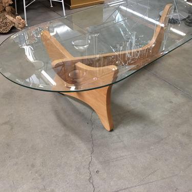 Mid-Century Modern Noguchi Style Oval Glass Coffee Table by HarveysonBeverly