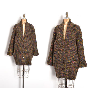 Vintage 1980s Sweater / 80s Speckled Knit Slouchy Cardigan / Black Brown ( S M L ) by lapoubellevintage