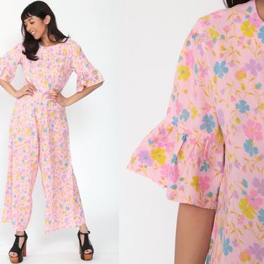 70s Jumpsuit Bell Bottom Pink Floral Boho Wide Leg Jumpsuit 1970s Disco Hippie Vintage Pantsuit Pants Bohemian Ruffle Short Sleeve Medium by ShopExile