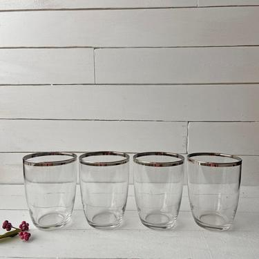 Vintage Short Silver Rimmed Tumbler Glasses, Midcentury Glasses | Silver Barware, Whiskey Glasses, Cocktail Glasses, Wine Glasses by CuriouslyCuratedShop