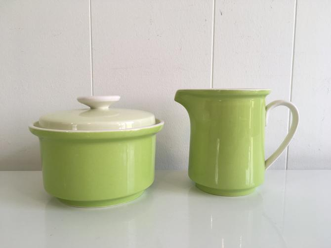 Vintage Mikasa Cream and Sugar Set Needlecraft Country Store Coffee Floyd Jones Retro Kitsch Kitchen Japan Lime Green Tea by CheckEngineVintage