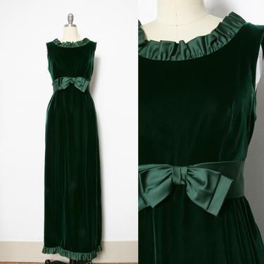 1960s Dress Green Velvet Full Length Gown S by dejavintageboutique