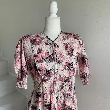 1940s Puckered Cotton Pink Botanical Print Hostess Dress Robe Vintage 38 Bust by AmalgamatedShop