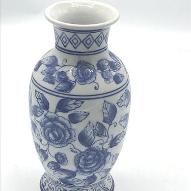 """Vintage Bella Ganz Blue and White Small Flowered Vase Cobalt Blue And White Hand Painted Floral Vase -7.5"""" - Chip Free Asian Design- by JoAnntiques"""