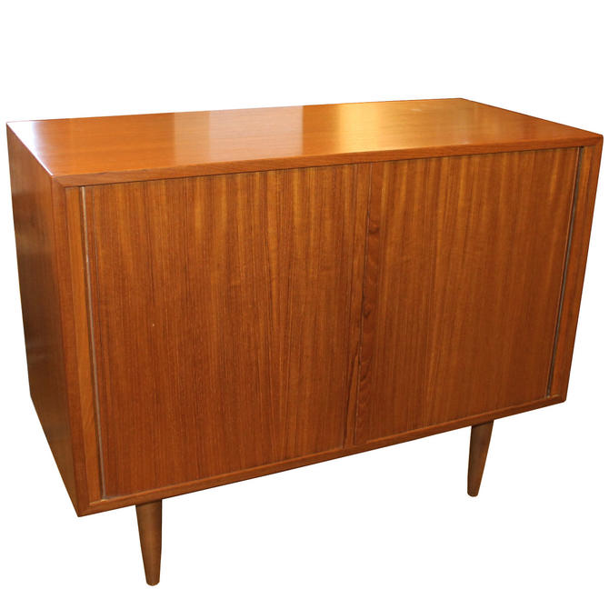 Mini Danish Modern Tambour Door Walnut/Teak Cabinet