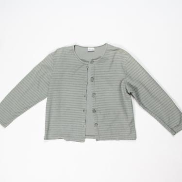 Aloe Jacket — vintage cotton jacket / medium 90s minimalist boxy cropped gray jacket / small lightweight pastel green ribbed chore coat by fieldery