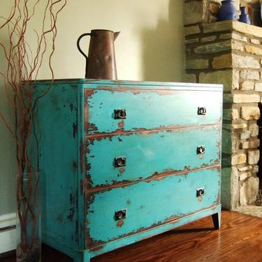 Variety of Antiqued Teal Chests of Drawers by Artisan8