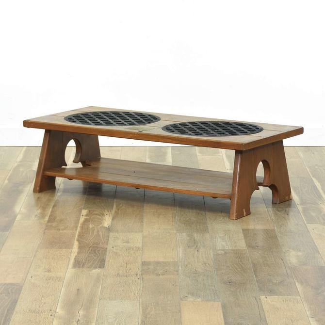 Nautical Salvage Coffee Table W/ 19Th Cent. Grate Inlay